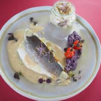 Filet de bar et son risotto aux champignons