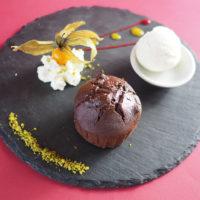 Moelleux au chocolat maison Boule de glace artisanale