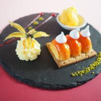 Tarte mandarine meringuée Boule de glace artisanale